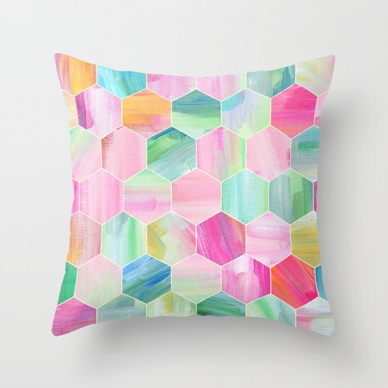 Pretty Pastel Hexagon Pattern in Oil Paint Throw Pillow