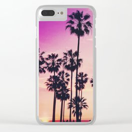 Sunset Palms Purple Tropical Sky Clear iPhone Case