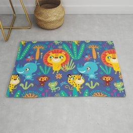 Kids Jungle Animals Monkey Lion Rhino Leopard Pattern Rug