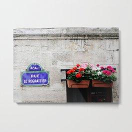 Paris Street Sign Metal Print