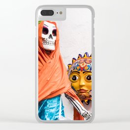 Day of the Dead Altar with Skeleton Lady in Blue Dress and Orange Shawl Clear iPhone Case