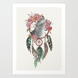 Wolf Dream Catcher Art Print