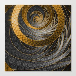 Banded Dragon Scales of Black, Gold, and Yellow Canvas Print