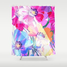Girly Geometric Triangle Flowers Pattern Shower Curtain
