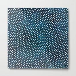 Dots on Dark Blue Texture Metal Print