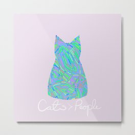 Cats are Better Than People Purple Pink Abstract Colorful Print Metal Print