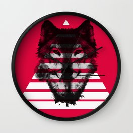 Red wolf white 4 Wall Clock