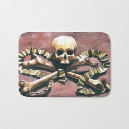 Ornate skull from Milan bone church Bath Mat