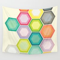honeycomb Wall Tapestries featuring Honeycomb Layers by Cassia Beck