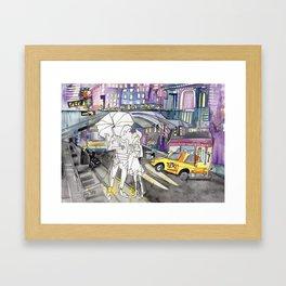 Kissing in New York City Framed Art Print
