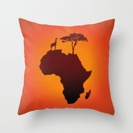 African Safari Map Silhouette Background Throw Pillow