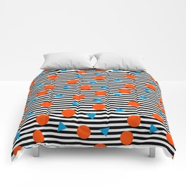 Yadda Yadda - memphis lines stripes dots triangles geometric abstract minimal print pattern wacka yo Comforters