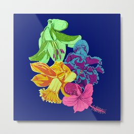 Octopus Flower Garden Metal Print