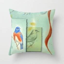 Talisman for Western Bluebirds Throw Pillow