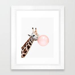 Giraffe with pink bubble gum Framed Art Print