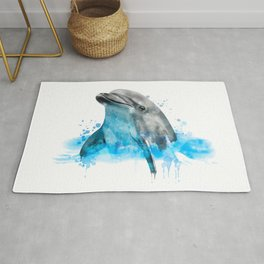 Dolphin Watercolor, Dolphin Painting, Dolphin Gift, Dolphin Poster, Dolphin Print, Dolphin Aquarelle Rug