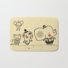 Forest Friends \ Cute Animals March\ elephant cats dogs  Bath Mat