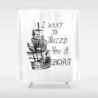larry stylinson Shower Curtains featuring I want to build you a boat. Harry Styles. Tattoo. (Larry Stylinson) by Arabella