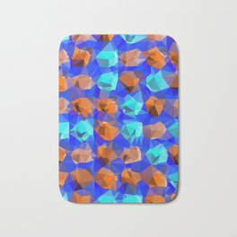 geometric polygon abstract pattern in blue and brown Bath Mat