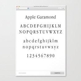 Apple Garamond Font Print Canvas Print
