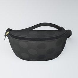 """Black & Grey Burlap Texture & Polka Dots"" Fanny Pack"