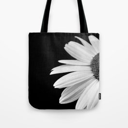 Half Daisy in Black and White Tote Bag