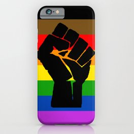 LGBT Pride Flag More Colors Raised Fist (More Pride) iPhone Case