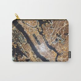 New York City, Map in Gold Carry-All Pouch