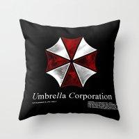 resident evil Throw Pillows featuring Resident Evil Umbrella Corporation by Liquidsugar