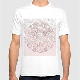 Rose gold mandala - blush pink & marble T-shirt