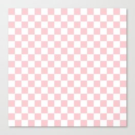 Large White and Light Millennial Pink Pastel Color Checkerboard Canvas Print