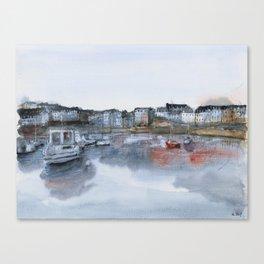 Rosmeur port watercolor painting Canvas Print