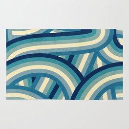 Vintage Faded 70's Style Blue Rainbow Stripes Rug