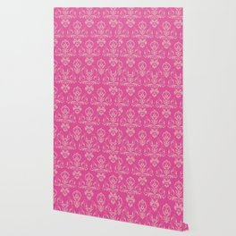 Pink Vintage Damask Wallpaper