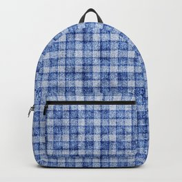Blue Gingham Velvety Faux Terry Toweling Backpack