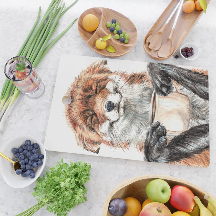 """"""" Morning fox """" Red fox with her morning coffee Cutting Board"""