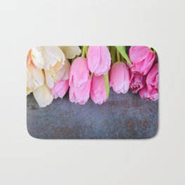 Fresh pink tulips Bath Mat