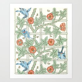 Trellis Block Print Wallpaper by William Morris, 1862 Art Print