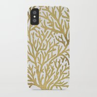 coral iPhone & iPod Cases featuring Gold Coral by Cat Coquillette