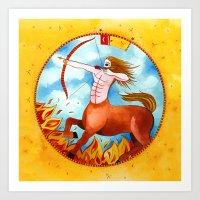 sagittarius Art Prints featuring Sagittarius by Sandra Nascimento