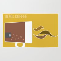 70s Area & Throw Rugs featuring 70s Coffee by Morgane Cazaubon