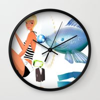 surrealism Wall Clocks featuring Surrealism by amanvel