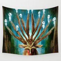 hayao miyazaki Wall Tapestries featuring Princess Mononoke The Deer God Shishigami Tra Digital Painting. by Barrett Biggers