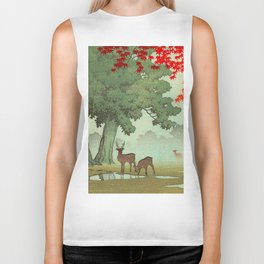 Vintage Japanese Woodblock Print Nara Park Deers Green Trees Red Japanese Maple Tree Biker Tank
