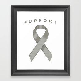 Gray Awareness Ribbon Framed Art Print
