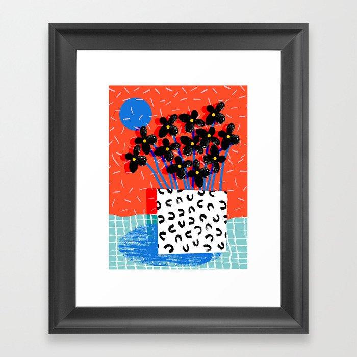 Ay Oh - abstract minimal still life florals patterns memphis throwback retro grid pattern Gerahmter Kunstdruck