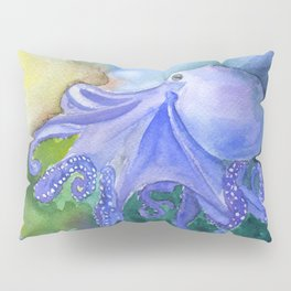 Octopus in the Reef Watercolor Pillow Sham