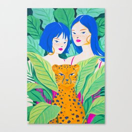Girls and Panther in Tropical Jungle Canvas Print
