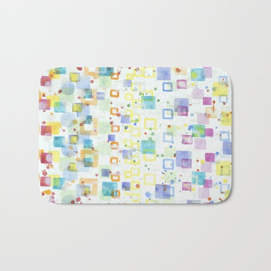 Light Squares with Drops Pattern Bath Mat