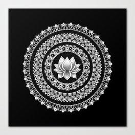 Black and White Lotus Mandala Canvas Print